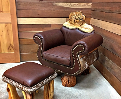 leather and hide chair with stool